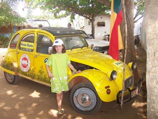 Madeleine with 2CV in Benin